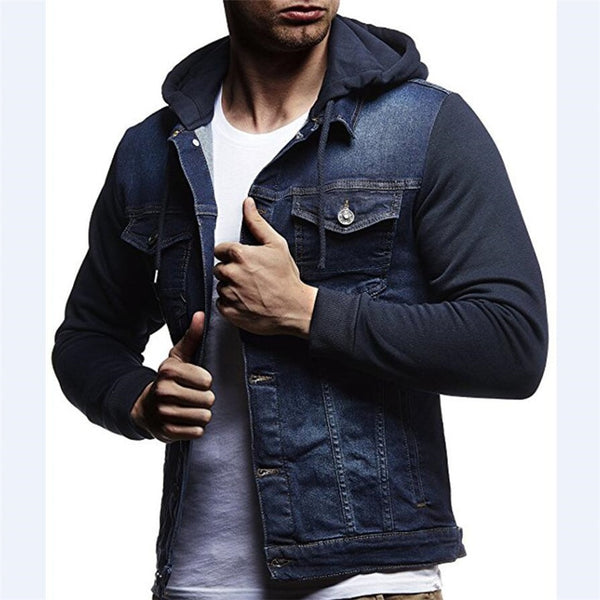 Men Patchwork Denim Jackets - New arrival 2018 Hooded Jacket - ArtOfExpo