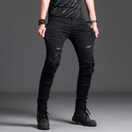 Men's Jeans - Black Jeans with Hole Super Denim Slim Jeans Skinny - ArtOfExpo