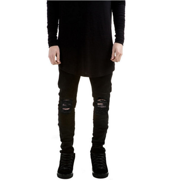 Men's Jeans - New Black Ripped Jeans Denim Super Skinny Scratched Biker - ArtOfExpo