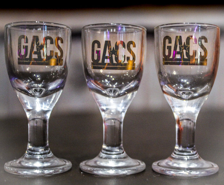 3 Beautiful Crystal Gold Logo Taster Glasses!