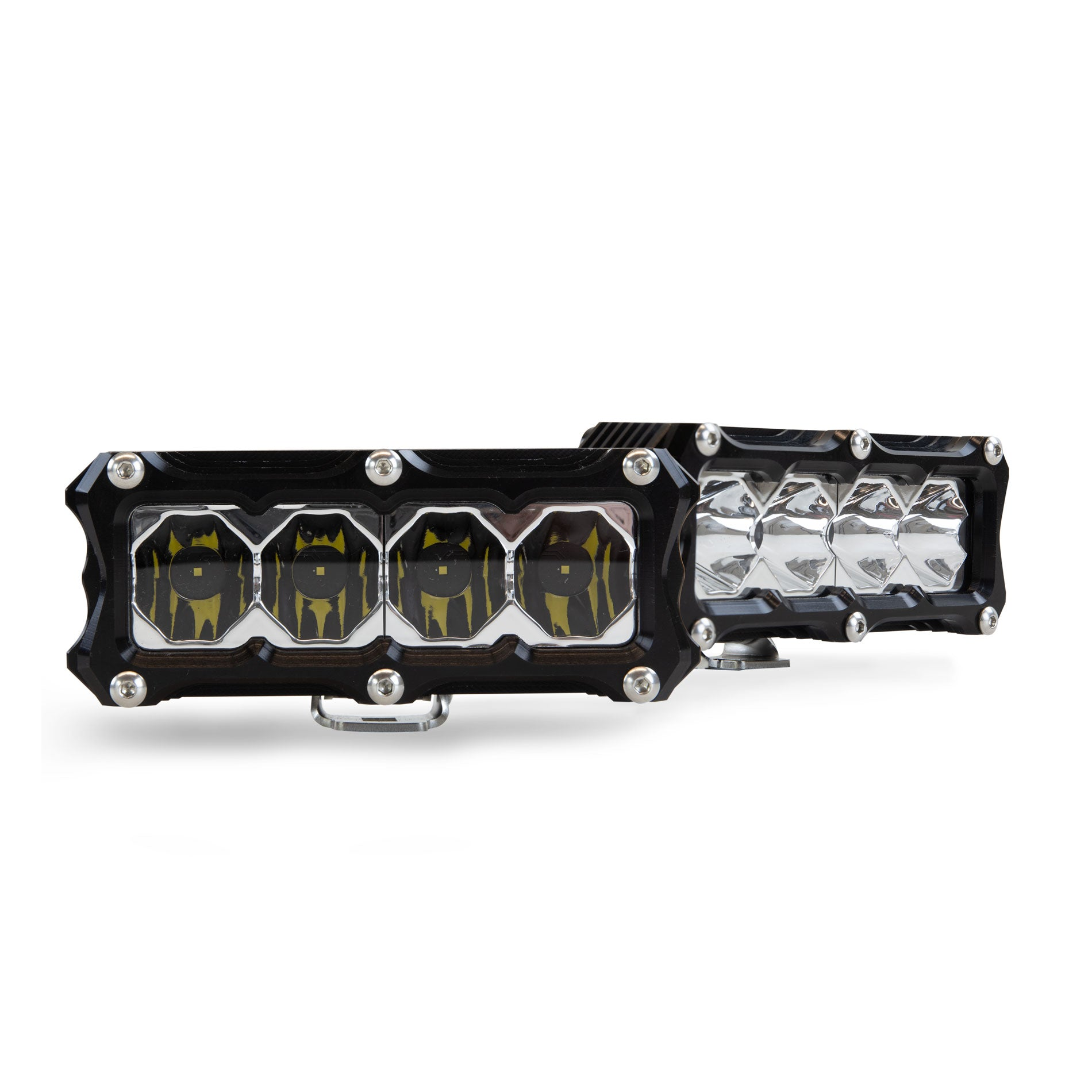 Heretic 6 Series Light Bar - BA-4 Pair Pack: Black Bezel | Stainless Bolts | Flood Reflector | Clear Lens