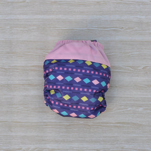100% Bamboo Microfibre Newborn Cloth Nappy - Purple & Pink