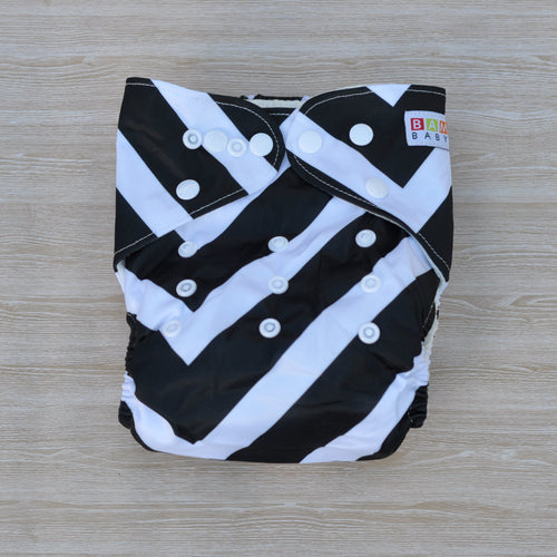 100% Bamboo Cloth Nappy Black & White