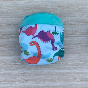 Bamboo Microfibre Newborn Cloth Nappy - Dino blue