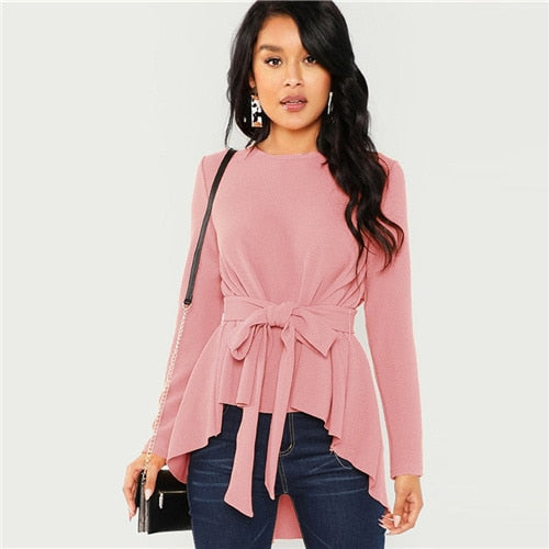 Pink Self Belted Asymmetrical Hem