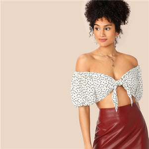 Heart and Polka Dot Print Crop