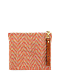 The Adrienne Wristlet in Pumpkin Herringbone