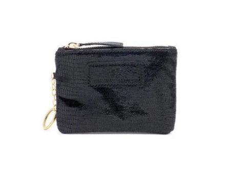 The Eevee Embossed Black Snakeskin Leather with Keychain