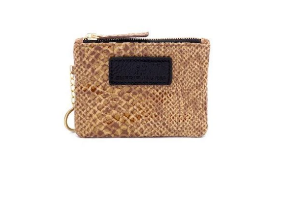 The Eevee Embossed Cinnamon Python Leather with Keychain