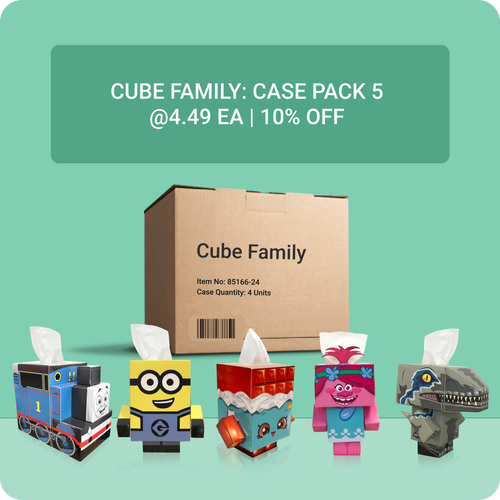 Cube Tissue Box Family - Case Pack 4 - Smart Care
