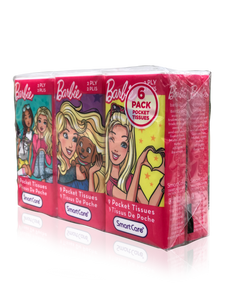 Smart Care Barbie Pocket Facial Tissues 6 Pack (new) - Smart Care