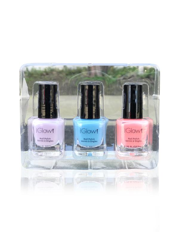 IGlow Nail Polish 3Pk (Shades - Periwinkle, Sky Blue, Coral) - Smart Care