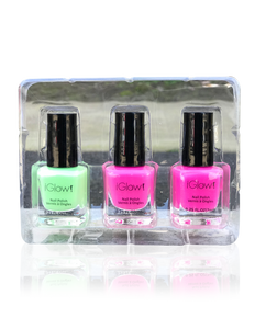 IGlow Nail Polish 3Pk (Shades - Green, Pink, Pink) - Smart Care
