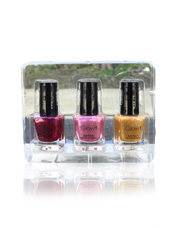 IGlow Nail Polish 3Pk (Sparkle Shades - Golden, Watermelon, Jam) - Smart Care