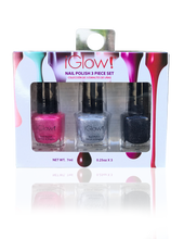 Load image into Gallery viewer, IGlow Nail Polish 3Pk (Sparkle Shades - Hot Pink, Silver, Royal Black) - Smart Care