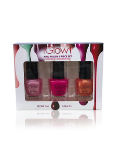 IGlow Nail Polish 3Pk (Shades - Watermelon, Hot Pink, Carrot) - Smart Care