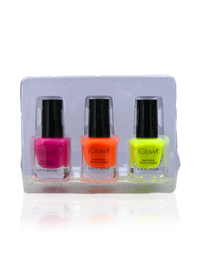 IGlow Nail Polish 3Pk (Shades - Hot Pink, Bright Orange, Charstreuse) - Smart Care