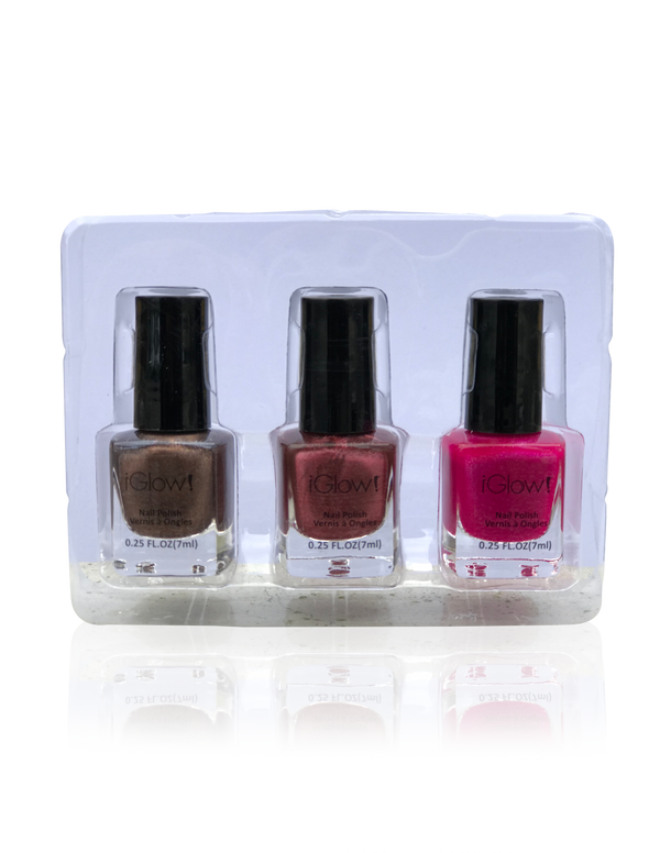 IGlow Nail Polish 3Pk (Shades - Coffee, Rosewood, Magenta) - Smart Care