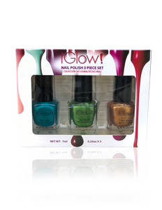 IGlow Nail Polish 3Pk (Shades - Blue, Green, Gold) - Smart Care