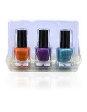 Load image into Gallery viewer, IGlow Nail Polish 3Pk (Sparkle Shades - Tiger, Violet, Sky Blue) - Smart Care