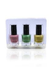 Load image into Gallery viewer, IGlow Nail Polish 3Pk (Sparkle Shades - Rose Pink, Fern Green, Yellow) - Smart Care