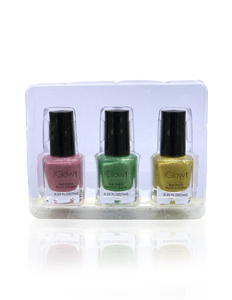 IGlow Nail Polish 3Pk (Sparkle Shades - Rose Pink, Fern Green, Yellow) - Smart Care