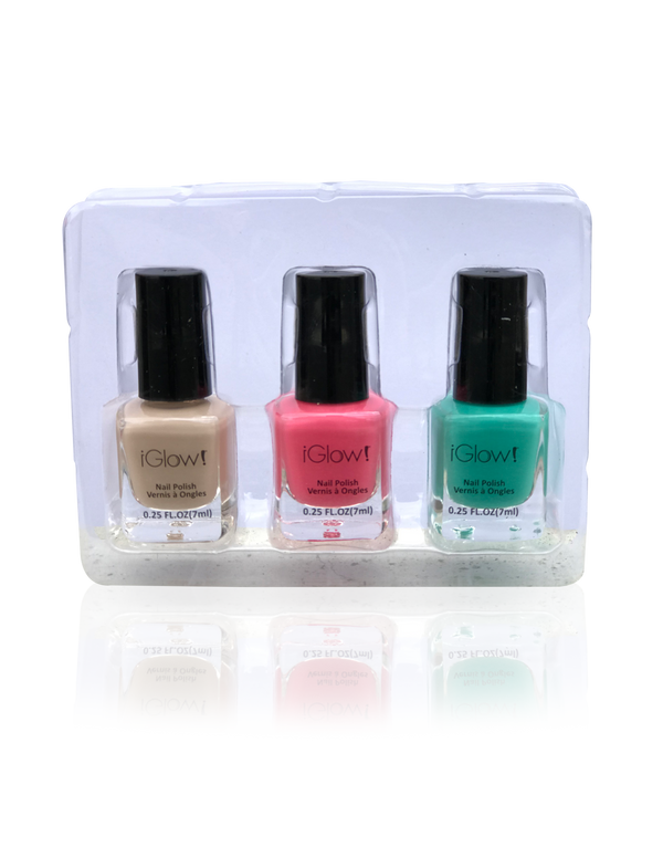 IGlow Nail Polish 3Pk (Shades - Parchment, Punch, Green) - Smart Care