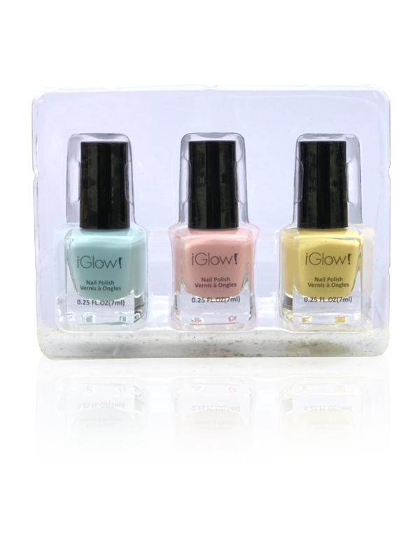 IGlow Nail Polish 3Pk (Shades - Sky Blue, Peach, Daffodil) - Smart Care