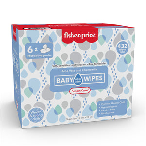 Smart Care Fisher Price 99% Water Baby Wipes - 6 Pack (432 Counts)