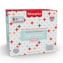Load image into Gallery viewer, Smart Care Fisher Price Baby Wipes - 6 Pack (480, 800 Counts)