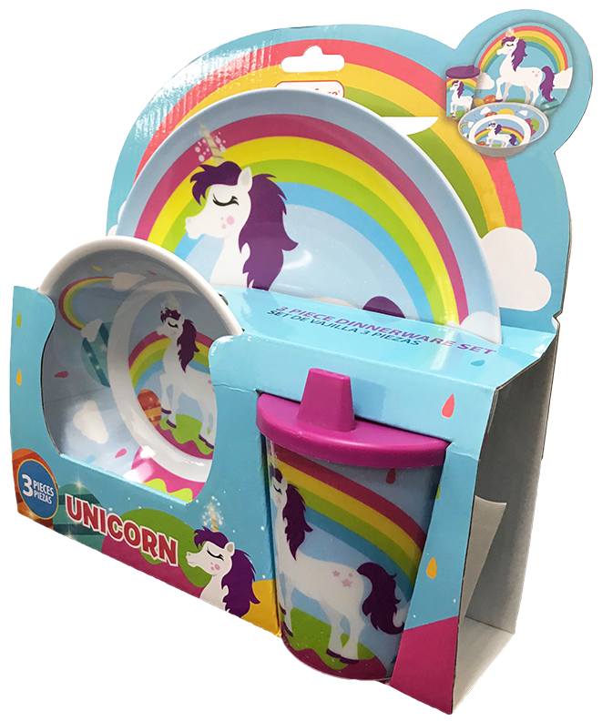 Smart Care Melamine 3 Piece Dinner Set - unicorn - Smart Care