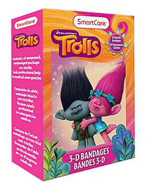 Smart Care Trolls Character Bandages 20 Count - Smart Care