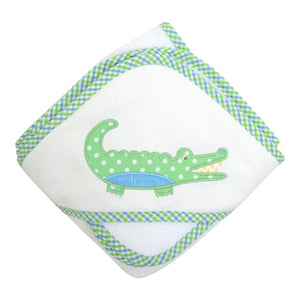 Blue Alligator Hooded Towel and Washcloth Set