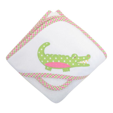 Pink Alligator Hooded Towel and Washcloth Set