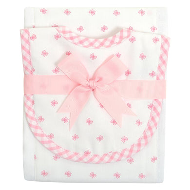 Pink Bow Burp Pad and Bib Set