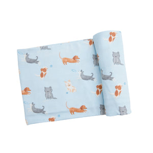Blue Puppy Play Swaddle Blanket