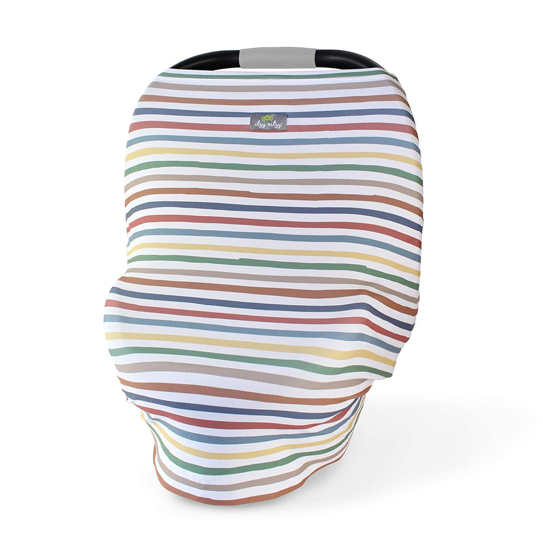 Mom Boss 4-in-1 Multi-Use Nursing & Shopping Cover - Dusty Rainbow Stripe