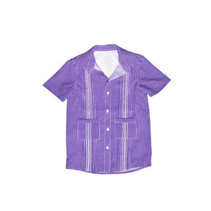 Game Day Guayabera -Purple and White Gingham Short Sleeve Shirt