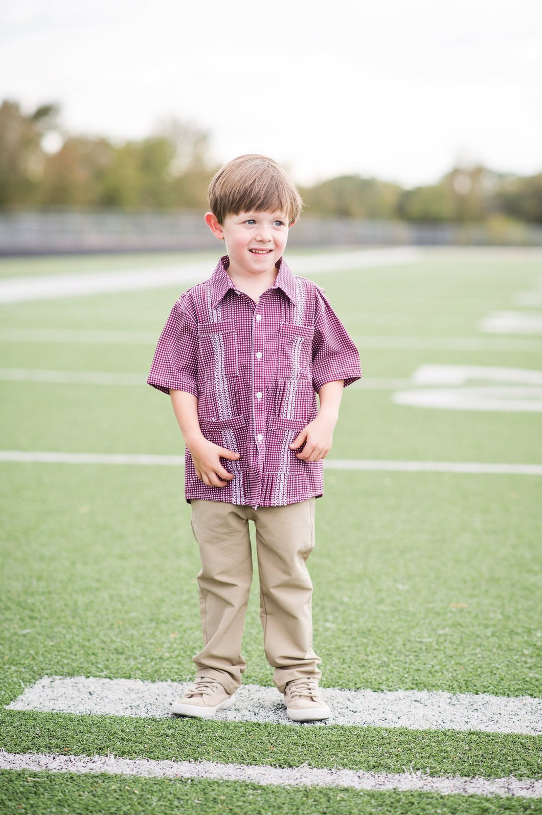 Game Day Guayabara - Maroon and White Gingham Short Sleeve Shirt