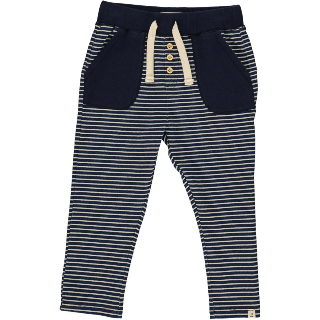 Navy and White Striped Joggers