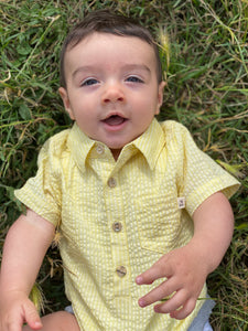 Yellow Seersucker Helford Short Sleeve Onesie