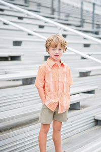 Game Day Guayabara - Orange and White Gingham Short Sleeve Shirt