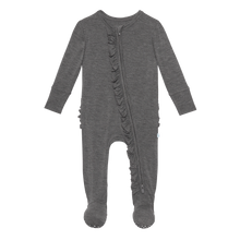Charcoal Heather Ruffle Footie