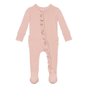 Sweet Pink Ribbed Ruffled Zipper Footie
