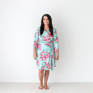 Mommy Robe in Aqua Floral