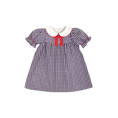 Short Sleeve Banks Bow Dress in Nantucket Navy Gingham with Richmond Red