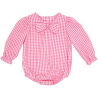 Beatrice Bow Blouse Hamptons Hot Pink Gingham