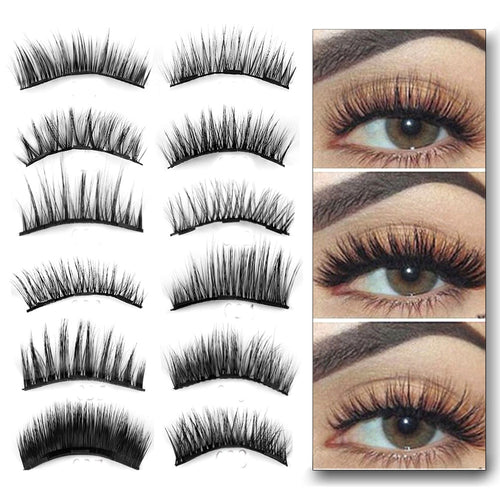 1 Set 0.07 Triple Magnetic False Eyelashes Extension Tools Full Coverage Glue-free Magnets Eye Lashes Thick Long Makeup Tools - Hothits