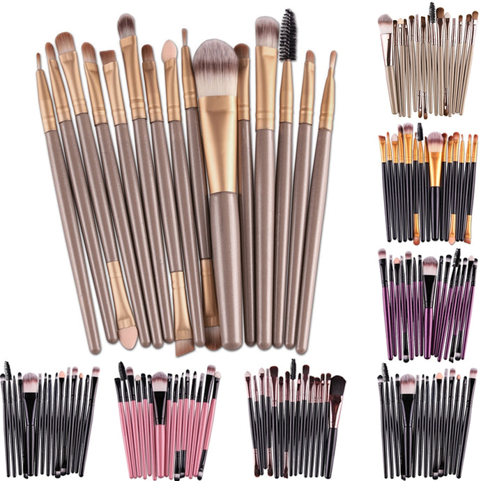 15Pcs Makup Brushes Set Tools Make-up Toiletry Kit Make Up Brush Set Pincel Maleta De Maquiagem 7colors christmas gift - Hothits