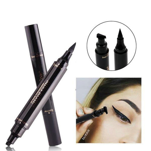 2018 New Miss Rose Brand Eyes Liner Liquid Make Up Pencil Waterproof Black Double-ended Makeup Stamps Eyeliner Pencil - Hothits